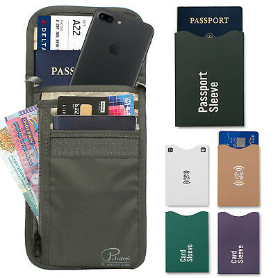Travel Neck Pouch Passport Holder RFID Blocking Wallet ID Cards Orgainzer Bag