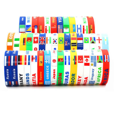2018 Country Flag Silicone Bracelet Rubber Sports Cuff Fans Wristband
