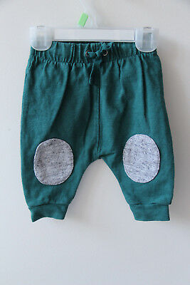 COUNTRY ROAD BABY Green Trackie Pants w Grey Knee Patches Sz 000