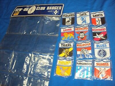 Rare 1970s set of VFL team patches with wall display pockets pre AFL new