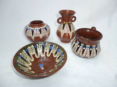 BULGARIAN ART GLAZED TROYAN POTTERY collection of small pieces - good condition