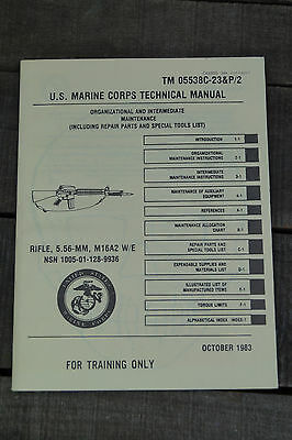 US USMC TM 05538C-23&p/2 M16 A 2 M16A2 5.56mm Rifle  technical manual
