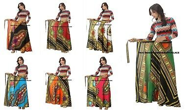 Indian Cotton Dashiki Print Rapron African Wrap Around Maxi Dress Women's Skirt