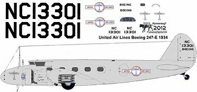 United Airlines 1934 Boeing 247D decals for Williams Brothers 1//72 scale