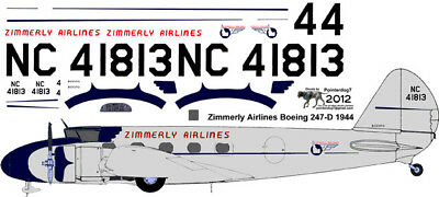 Western Air Express  Boeing 247 decals for Williams Brothers 1//72 scale