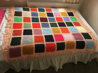 """COLOURFUL HAND KNIT CROCHET BLANKET WITH TASSELS 50"""" x 45"""""""