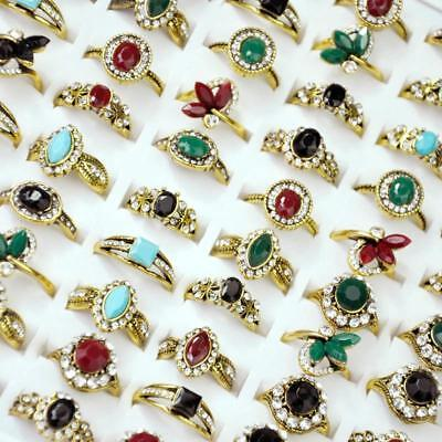 50Pcs Acrylic Ancient Copper Plated Rings Rhinestone Women Wholesale Jewelry CFP