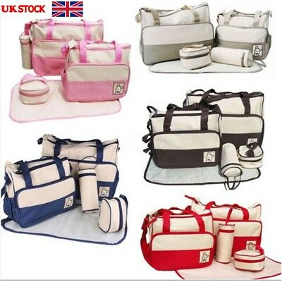 5 PCS Set Baby Bags Multi-Function Baby Diaper Nappy Bag Mummy Changing Handbag