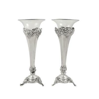 """Pair Of Antique Victorian Sterling Silver 7"""" Vases - 1896"""