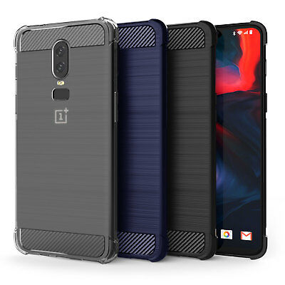 OnePlus 6 Carbon Fibre Best TPU Silicone Gel Case Edge Protection Phone Cover UK