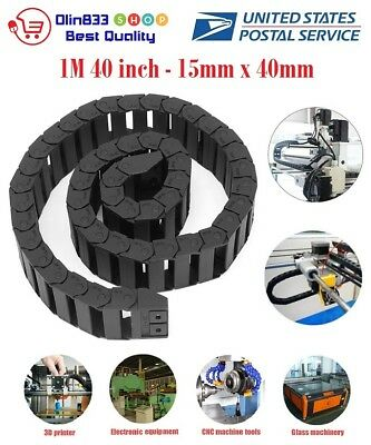 "1M 1000mm 40"" Black Long Nylon Cable Drag Chain Wire Carrier R38 15mm x 40mm USA"