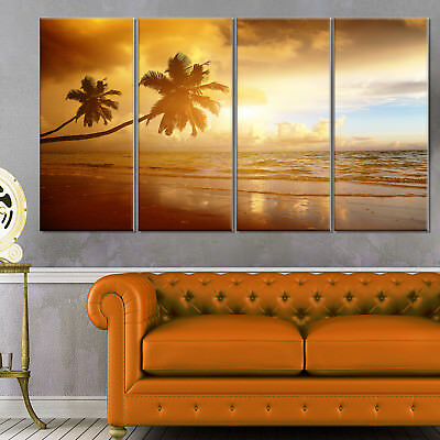 Beautiful Palms at the Caribbean Beach - Extra Large Seascape Art Canvas