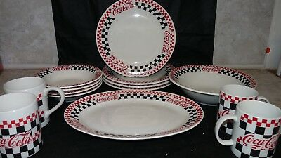 Gibson Coca Cola 1996 Checkered Replacement Dishes Plate Bowl Cup Platter