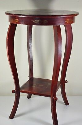 unusual and rare Japanese hand painted red lacquer side table 22 inches c1940