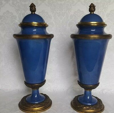 Antique Mp Sevres Paul Millet French Bronze And Blue  Porcelain Covered Urns