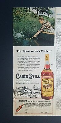 1955 old cabin still Kentucky bourbon whiskey fisherman catching fish boat ad