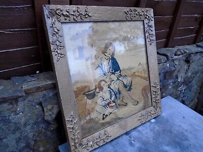 ANTIQUE 19th CENTURY BERLIN NEEDLEWORK PANEL-FATHER AND SON IN A CEMETARY