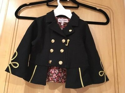 Juicy Couture Black & Gold Detailed Military Style Jacket Charm 12 months / 1 Yr