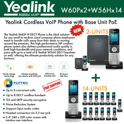 Yealink IP Phone W60P 2-PACK Base Unit more 14-PACK W56H handset