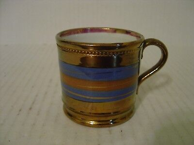 "Viintage Copper And Blue Stripes Lusterware Small Cup Or Mug 2-3/8"" High"