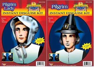 Instant Disguise Pilgrim Men And Women  Kits Costume Accessories New