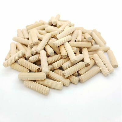 "100 Qty 3/8"" X 1-1/2"" Fluted Birch Wooden Dowel Pins (BCP257)"