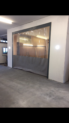 Clear And Grey Dust Prevention Workshop Garage Divider Curtain  20Ft X 9Ft