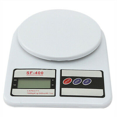 7Kg/1g LCD Digital Kitchen Scale Weigh Accurate Dessert Fruit Weight, White P3E3