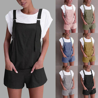 Vintage Women Casual Shorts Baggy Pocket Jumpsuit Dungarees Shorts Playsuits Hot