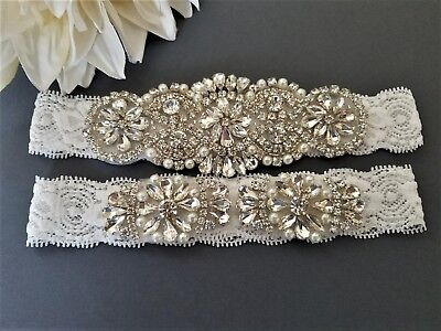 Wedding Bridal Garter Set - CRYSTAL PEARL OFF WHITE lace GARTER SET