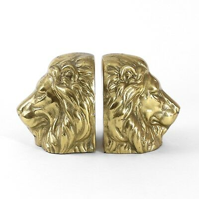 Vintage MCM Hollywood Regency Heavy Lion Head Bookends PAIR Cast Brass