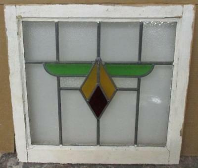 "OLD ENGLISH LEADED STAINED GLASS WINDOW Geometric Delightful 21.75"" x 20.75"""