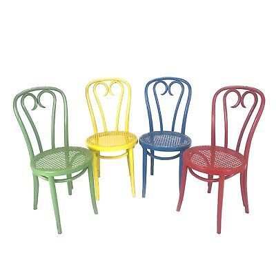VTG Antique Thonet Radomsko Candy Cane Bentwood Cafe Chairs POLAND Set of 4 LOT