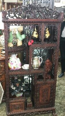 Antique Chinese Display Cabinet Intricately Carved