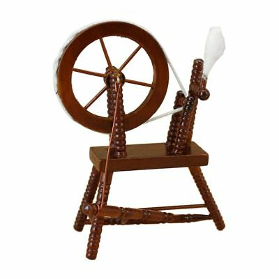 1:12 scale doll house miniature hand reeling machine wooden spinning wheel T6P3