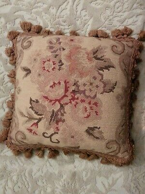 Antique Vintage French Aubusson Flowers Tassel Needlepoint Pillow