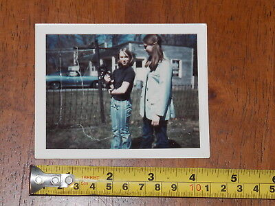 Photo Snapshot Vintage Polaroid 1970S Old Car Puppy Two Girls Fashion Clothing
