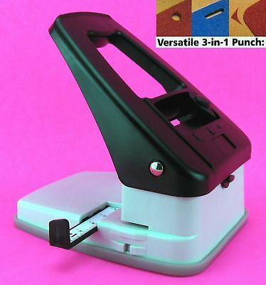 DESKTOP 3 in 1 SLOT ID CARD BADGE - 1/4 HOLE - CORNER ROUND PUNCH ADJUSTABLE NEW