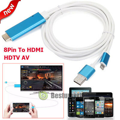 For iPhone X/8/7/6s/Plus/5s iPad 8Pin Lightning To HDMI/HDTV AV TV Cable Adapter