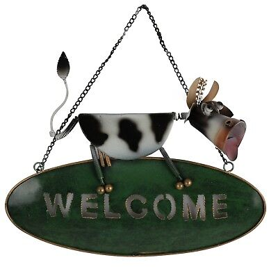 Cow Abstract Metal Art Welcome Sign Hanging Sculpture 25cm