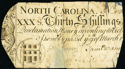 North Carolina Colonial Currency 30s March 9 1754 Fine- Very Fine