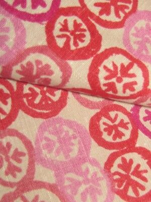 """Vintage nwt  tonal discs pinks to red  on cream Linen 52"""" x 2.25 yds"""