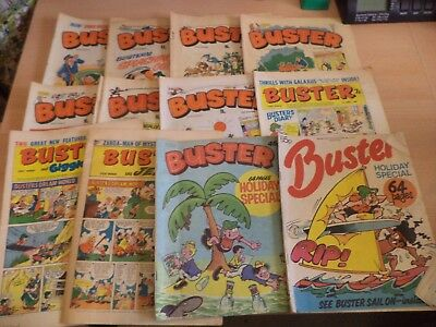 LOT OF 12 OLD VINTAGE BUSTER BRITISH COMIC MAGAZINE 1960s 1970s 1980S & holiday