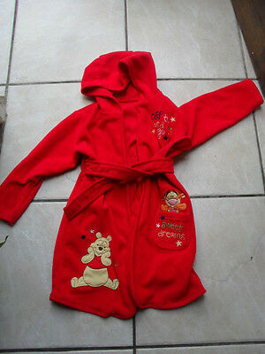 Age 18-24 Months Red Hooded Dressing Gown Disney  Winnie The Pooh Fleece