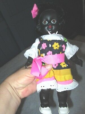 "PEDIGREE DOLL-BLACK GIRL, ENGLISH MADE 1950's 12"".SOFT, RUBBERY PLASTIC.VGC."