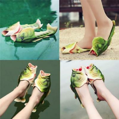 Mens Womens Novelty Funny Fish Shape Soft Slippers Flats Sumer Beach Shoes 6A