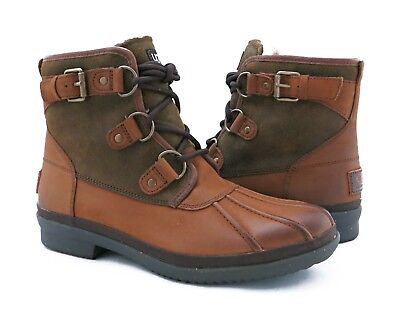 121a733a192 UGG AUSTRALIA CECILE Chestnut Brown Leather Duck Boots Womens Size 7 *NIB*