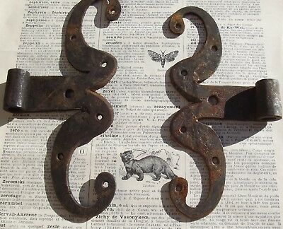 Two Antique French Iron Hinges shutters gates,windows, doors Handforged