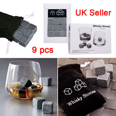Whisky Pocks Ice Cube Stones Drink Cooler Whiskey Granite Scotch Pouch Bar L4U