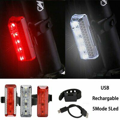 Head Rear Light 5 Mode USB Rechargeable LED Front Tail Lamp Bike Bicycle Cycling